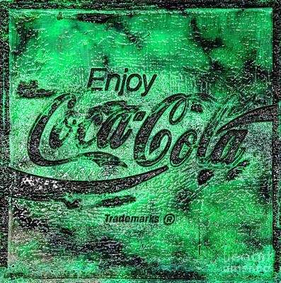 Photograph - Coca Cola Sign Mottled Green by John Stephens