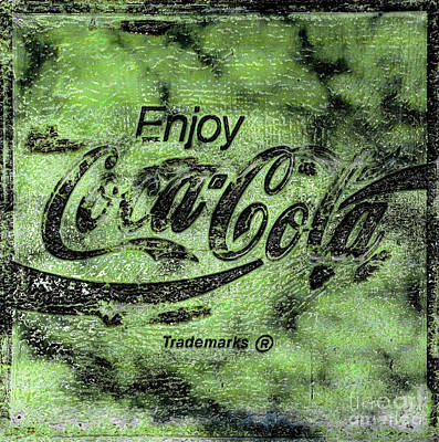 Photograph - Coca Cola Sign Mottled Lime by John Stephens