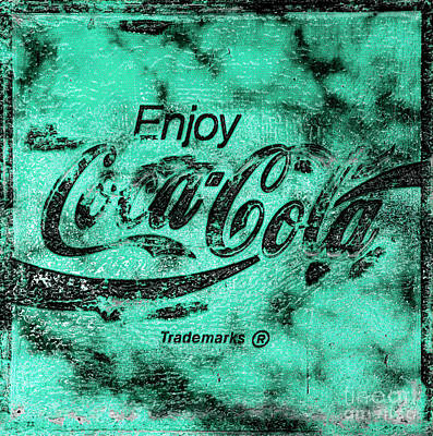 Vintage Coca Cola Sign Photograph - Coca Cola Sign Mottled Teal by John Stephens