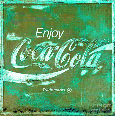 Photograph - Coca Cola Sign Rustic Teal by John Stephens