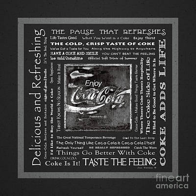 Photograph - Coca Cola Slogans Poster Dark Grey And White by John Stephens