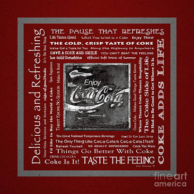 Photograph - Coca Cola Slogans Poster Red Background White Letters Black And White Sign by John Stephens