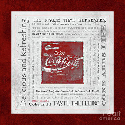 Photograph - Coca Cola Slogans Poster With Grey Textured Background Red Mottled Panel by John Stephens