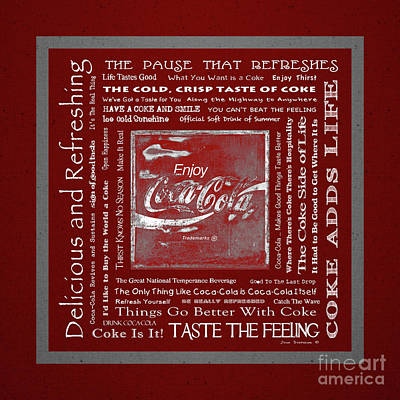 Photograph - Coca Cola Slogans Poster With Red Background Grey Panel White Font by John Stephens