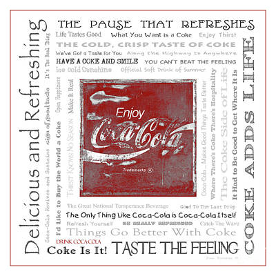 Photograph - Coca Cola Slogans Poster With Red Border Accent by John Stephens