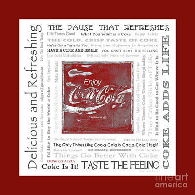 Photograph - Coca Cola Slogans Poster With Red Border by John Stephens