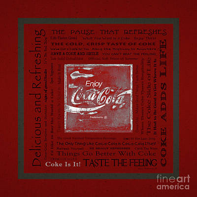 Photograph - Coca Cola Slogans Poster With Textured Red Background Grey Panel by John Stephens