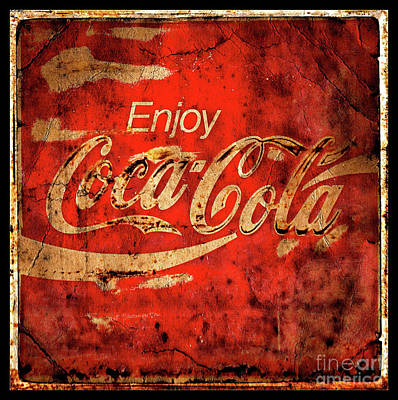 Photograph - Coca Cola Square Aged Texture Black Border by John Stephens