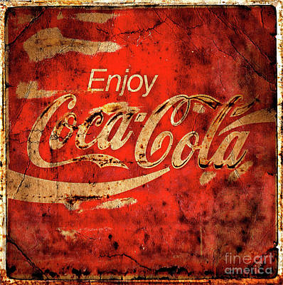 Photograph -  Coca Cola Square Aged Texture by John Stephens