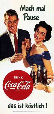 Mixed Media Royalty Free Images - Coca Cola - Vintage Cool Drinks Advertising Poster Royalty-Free Image by Studio Grafiikka