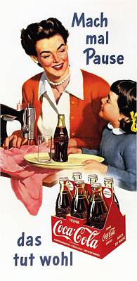 Mixed Media - Coca Cola - Vintage Soft Drinks Advertising Poster by Studio Grafiikka