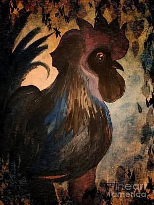 Mixed Media - Cock-a-doodle Blue by Maria Urso