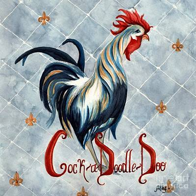 Painting - Cock A Doodle  Doo - Fancy Rooster by Janine Riley