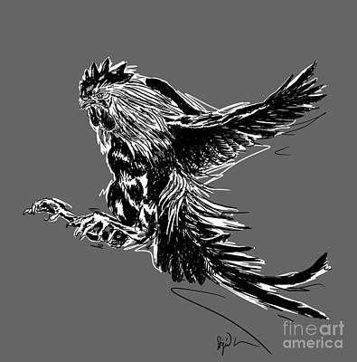 Cock Bw II Transparant Art Print