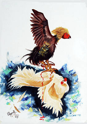 Painting - Cock Fighting by Ragunath Venkatraman
