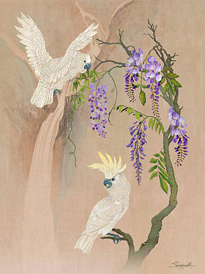 Digital Art -  Cockatoos And Wisteria by Spadecaller