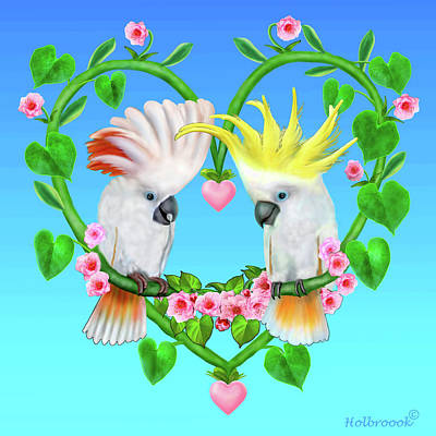 Digital Art - Cockatoos Of The Heart by Glenn Holbrook