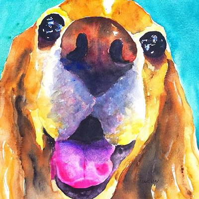 Watercolor Pet Portraits Wall Art - Painting - Cocker Spaniel Dog Smile by Carlin Blahnik CarlinArtWatercolor