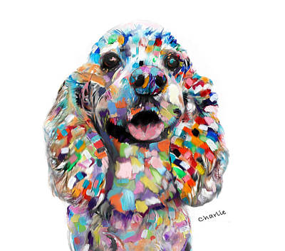 Painting - Cocker Spaniel Head by Enzie Shahmiri
