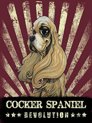 Cocker Spaniel Drawing - Cocker Spaniel Revolution by John LaFree