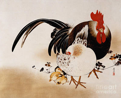 Rooster Drawing - Cockerel, Hen And Chicks by Shibata Zeshin