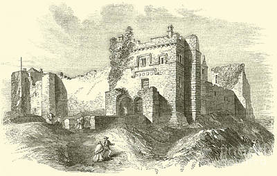 Pen And Ink Drawing Drawing - Cockermouth Castle by English School