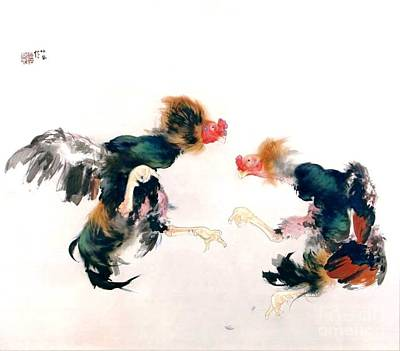 Painting - Cocks Fighting by Reproduction