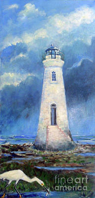 Historic Lighthouses Painting - Cockspur Lighthouse And Egret by Doris Blessington