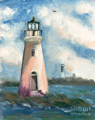 Historic Lighthouses Painting - Cockspur Lighthouse At Fort Pulaski by Doris Blessington