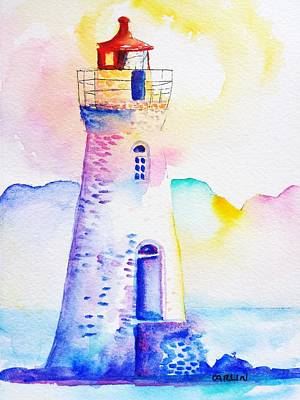 Painting - Cockspur Lighthouse by CarlinArt Watercolor
