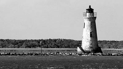 Photograph - Cockspur Lighthouse In Black And White by Carol Montoya