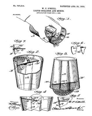 Old Style Drawing - Cocktail Mixer Patent 1903  by Bill Cannon