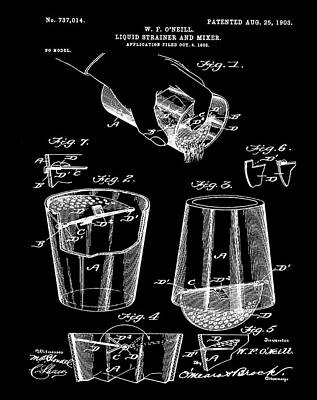 Martini Drawing - Cocktail Mixer Patent 1903 In Black by Bill Cannon