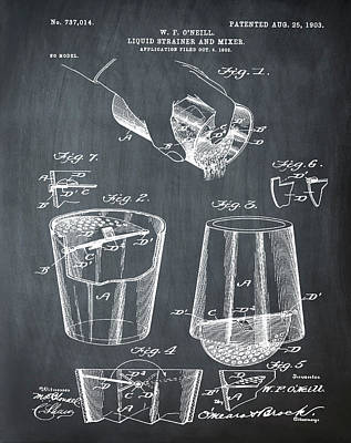 Old Style Drawing - Cocktail Mixer Patent 1903 In Chalk by Bill Cannon