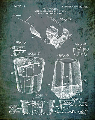 Old Style Drawing - Cocktail Mixer Patent 1903 In Dirty Glass by Bill Cannon