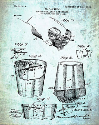 Martini Drawing - Cocktail Mixer Patent 1903 In Dirty Paper by Bill Cannon