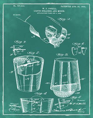 Old Style Drawing - Cocktail Mixer Patent 1903 In Green by Bill Cannon