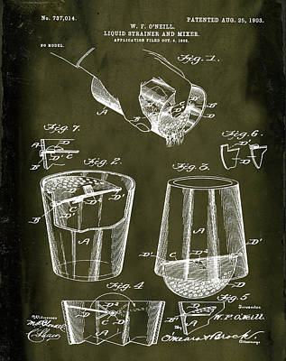 Old Style Drawing - Cocktail Mixer Patent 1903 In Marble by Bill Cannon
