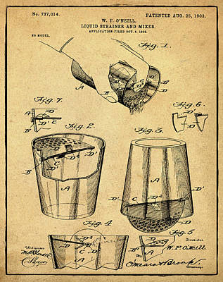 Old Style Drawing - Cocktail Mixer Patent 1903 In Sepia by Bill Cannon