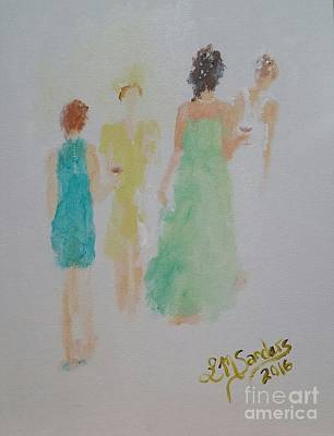 Strapless Dress Painting - Cocktail Party by Lisa Sanders