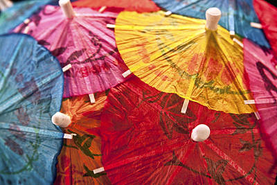 Closeup Photograph - Cocktail Umbrellas V by Tom Mc Nemar