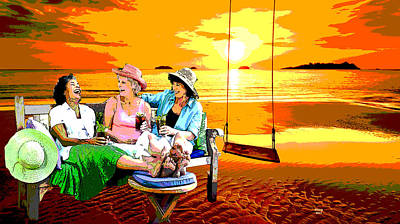Beach Sunset Mixed Media - Cocktails At Sunset by Charles Shoup
