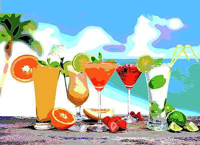 Cocktails Art Print by Charles Shoup