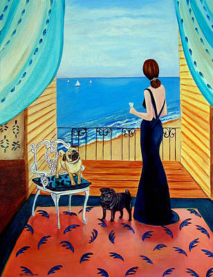 Dog Beach Painting - Cocktails For One - Pug Dog by Lyn Cook