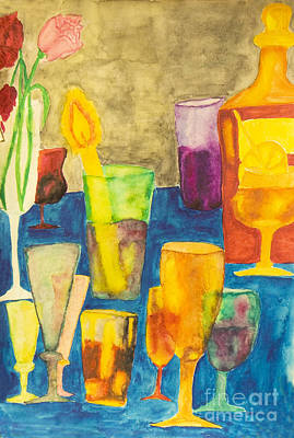 Hand Painted Wine Glass Painting - Cocktails, Painting by Irina Afonskaya