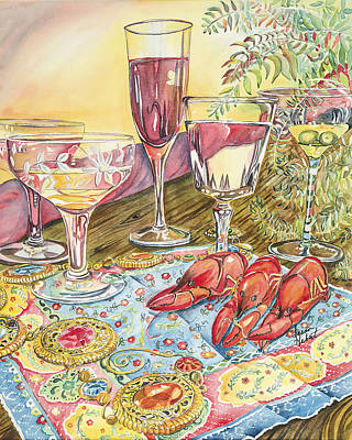 Boiled Crawfish Painting - Cocktails by Susan Hebert