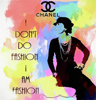 Actors Mixed Media - Coco Chanel Colorful Fashion Quote by Dan Sproul