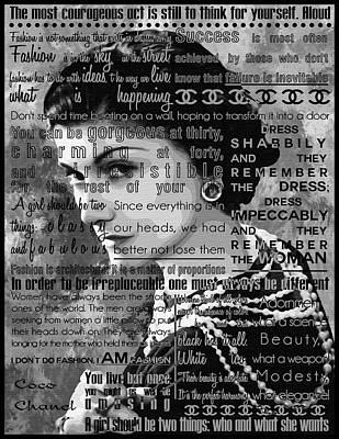 Celebrities Painting - Coco Chanel Inspirational Motivational Independent Quotes 5 by Diana Van