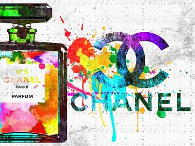 Coco Chanel No. 5 Grunge Art Print