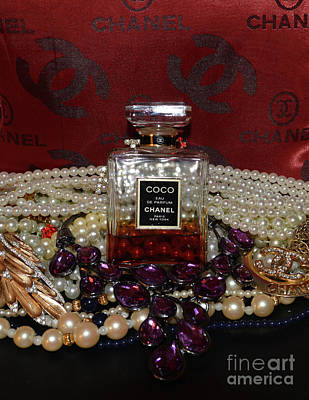 Coco Chanel On Red 5 Art Print